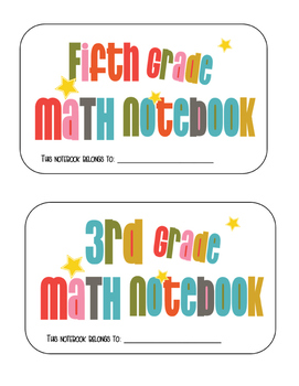 Math Notebook Cover & Table of Contents