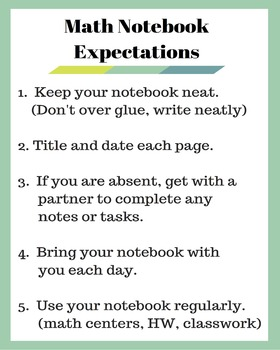 Math Notebook Expectations