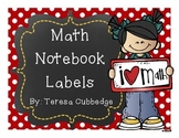 Math Notebook Labels