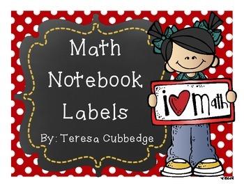 Math Notebook Labels