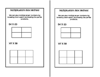 Math Notebook - Multiplication Box Method (Area Method)