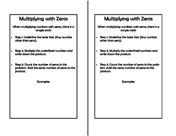 Math Notebook - Multiplying With Zeros