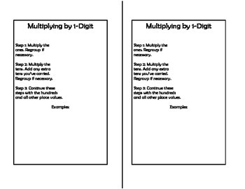 Math Notebook: Multiplying by 1 Digit Numbers