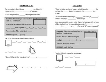 Math Notebook Notes: Area and Perimeter