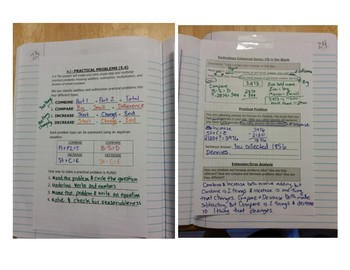 Math Notebook Notes: Add and Subtract Word Problems
