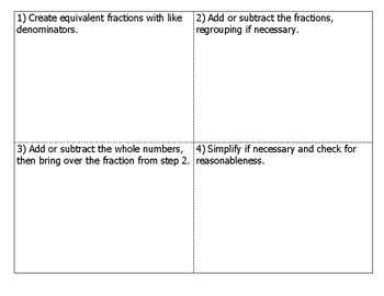 Math Notebook Notes: Add and subtract mixed numbers