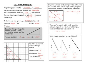 Math Notebook Notes: Area of Triangles