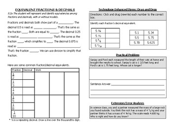 Math Notebook Notes: Change Fractions to Decimals