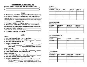 Math Notebook Notes: Choose a Measurement Unit