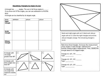 Math Notebook Notes: Classify Triangles by Angle