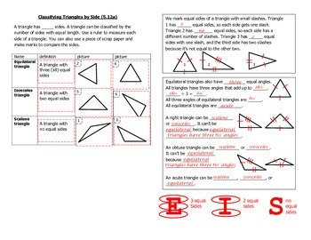 Math Notebook Notes: Classify Triangles by Side