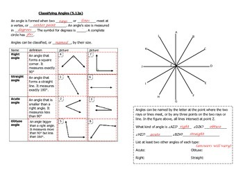 Math Notebook Notes: Classifying Angles