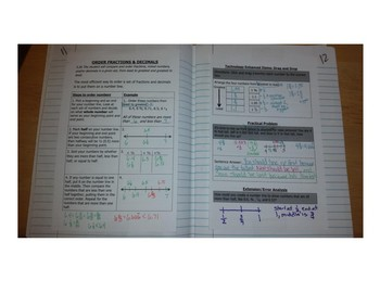 Math Notebook Notes: Compare & Order Fractions, Decimals & Mixed Numbers