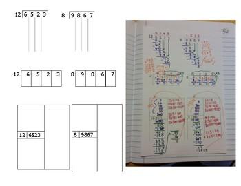 Math Notebook Notes: Dividing