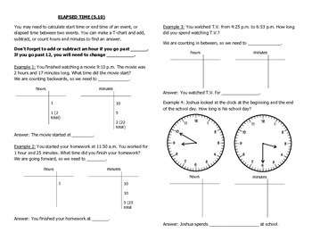 Math Notebook Notes: Elapsed Time