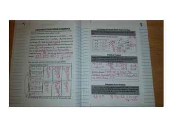 Math Notebook Notes: Equivalent Fractions and Decimals