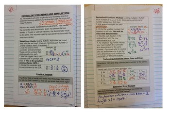 Math Notebook Notes: Equivalent Fractions and Simplifying