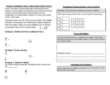 Math Notebook Notes: Improper Fractions and Mixed Numbers
