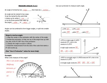 Math Notebook Notes: Measure Angles
