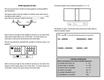 Math Notebook Notes: Model Linerar Equations