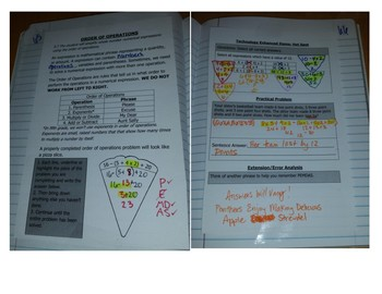 Math Notebook Notes: Order of Operations