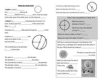 Math Notebook Notes: Parts of a Circle