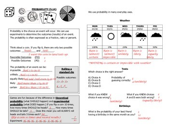 Math Notebook Notes: Probability