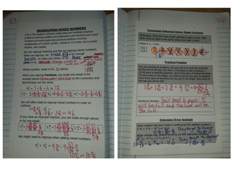 Math Notebook Notes: Subtracting and RegroupingMixed Numbers to