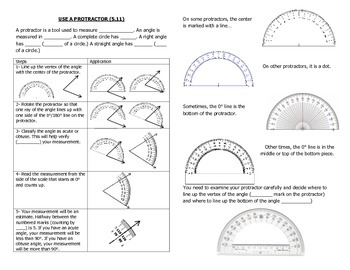 Math Notebook Notes: Use a Protractor