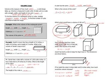 Math Notebook Notes: Volume