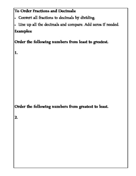 Math Notebook: Ordering Fractions and Decimals
