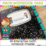 Math  Notebook Organization Tabs