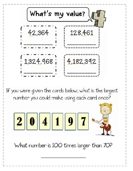Math Notebook Page- Place Value- 4.NBT.1