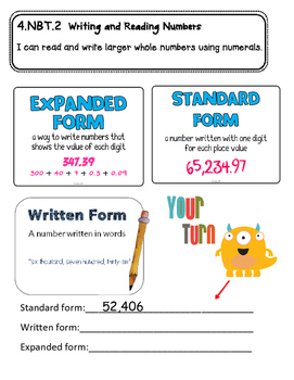 Math Notebook Page- Reading and Writing Numbers- 4.NBT.2a