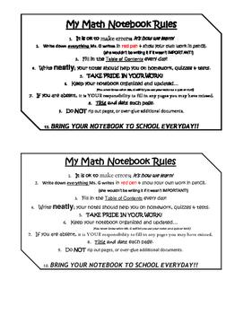 Math Notebook Rules *EDITABLE*