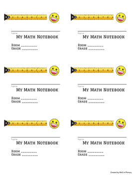 Math Notebook label- emoji theme