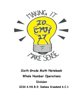Math Notebook: whole number operations and division