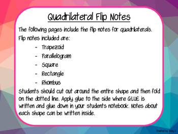 Math Notebooking with Quadrilaterals