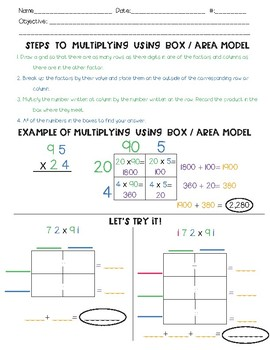 Multiplying Multidigit Numbers Guided Math Notes