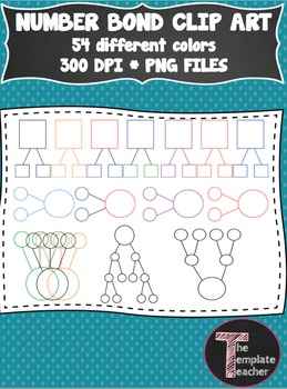 Math Number Bond Clip Art - 54 different colors and shapes - PNG files