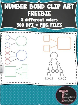 Math Number Bond Clip Art FREEBIE - different colors and shapes - PNG files