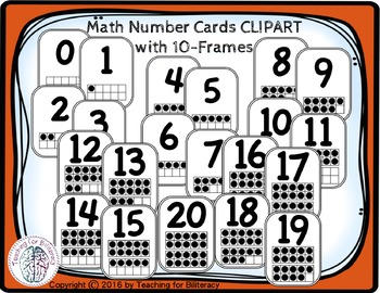 Math Number Cards 0-20 FREE CLIPART
