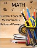 Math: Number Concepts, Measurements, Ratio and Percent