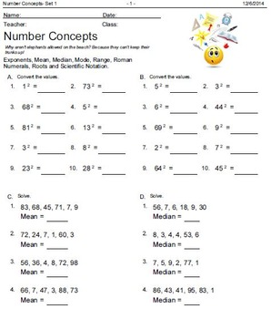 Math: Number Concepts, Measurements, Ratio and Percent
