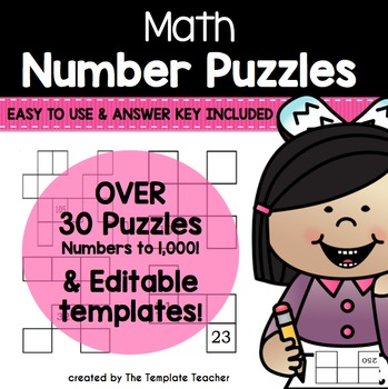 Math Number Grid Puzzle Practice 10 more and 10 less pages
