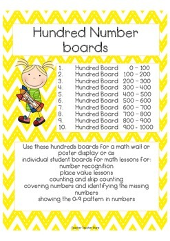 Math Number Hundreds Boards 10 boards with numbers 0-1000