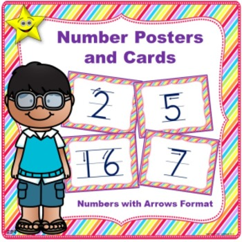 Number Posters and Cards, Numbers with Arrows