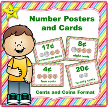 Number Posters and Cards, Cents and Coins