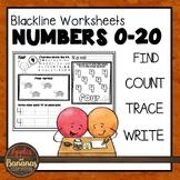 Math Number Printing Practice (0-20) Blackline Masters