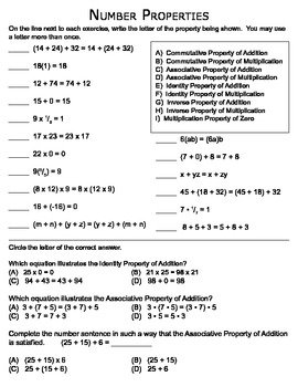 math number properties matching worksheet by trubluteacher tpt. Black Bedroom Furniture Sets. Home Design Ideas